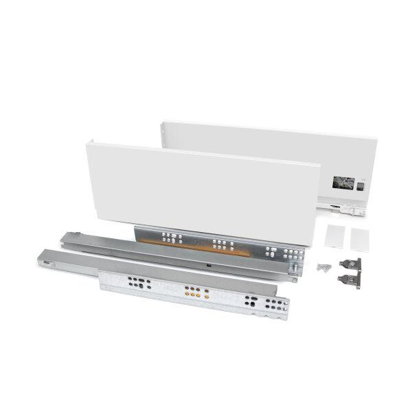 Emuca Schubladen-Kit Vertex für Küche und Bad, H. 131 mm, T. 400 mm, 40 Kg, sanftes Schließen, Stahl, Weiß