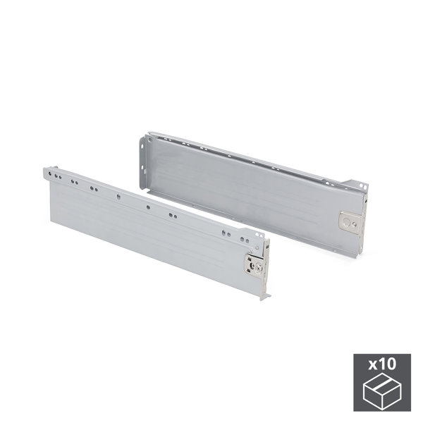 Emuca Schubladen-Kit für Küche Ultrabox, H. 118 mm, T. 350 mm, Stahl, Grau metallic, 10 St.
