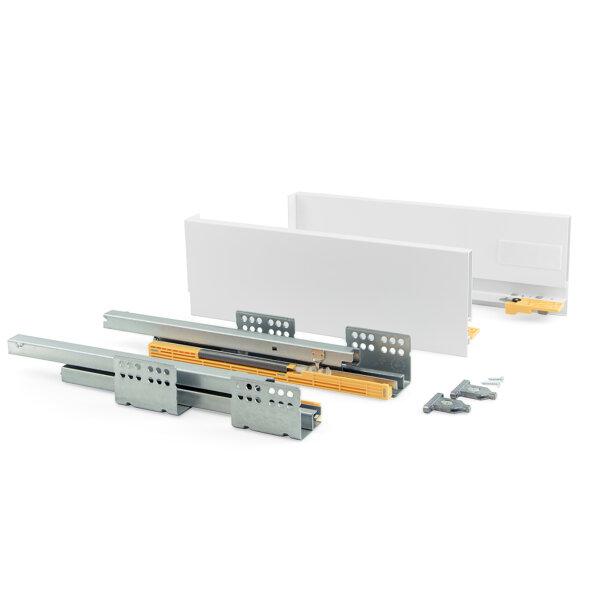 Emuca Schubladen-Kit für Küche Concept, H. 138 mm, T. 450 mm, sanftes Schließen, Stahl, Weiß