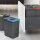 Emuca Recycle-Mülleimer, 15 L + 15 L + 6 L + 6 L, für Modul 600 mm, Kunststoff, Anthrazit Grau, 4 St. + Basis