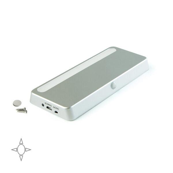 Emuca LED-Leuchte, aufladbar, Bewerbungssensor, natürliches weißes Licht, Kunststoff, Grau metallic