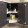 Emuca Satz drehbare Ablagen für Küchenschränke, 270º, für Modul 800 mm, Kunststoff und Aluminium, Weiß