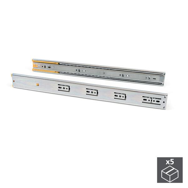 Emuca Satz Führungen für Schublade, Kugelauszug, 45 x 600 mm, Vollauszug, sanftes Schließen, Verzinkt, 5 St.