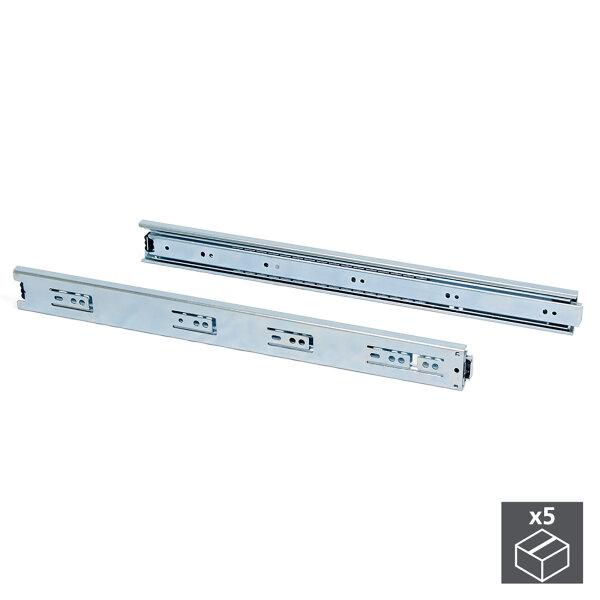 Emuca Satz Führungen für Schubladen, Kugelvollauszug, 45 x 650 mm, Verzinkt, 5 St.