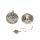 Emuca Satz von Rundem Drehknopf-Schloss mit Rosetten für Innentüren, Durchmesser 50 mm, Zamak, Nickel satiniert, 5 st.