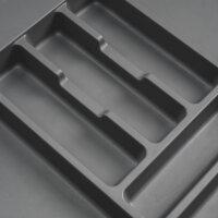 Emuca Besteckfach Optima für Küchenschublade Vertex/Concept 500, Modul 600 mm, Spanplatte 16mm, Kunststoff, Anthrazitgrau