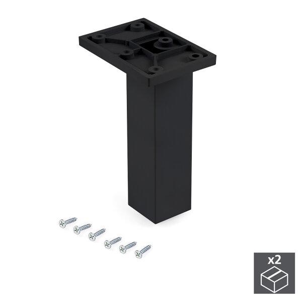 Emuca Möbelfuß, Mitte, regulierbar 140 - 150 mm, Kunststoff, Schwarz, 2 St.