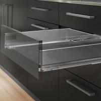 Emuca Schubladen-Kit Vertex für Küche und Bad, H. 93 mm, T. 350 mm, 40 Kg, sanftes Schließen, Stahl, Anthrazitgrau