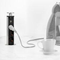 Emuca 3-Fach-Steckdose mit 2 USB-Anschlüssen Vertikal, zum Einbetten, ausziehbar, G-Steckdosen, Kunststoff, Grau metallic