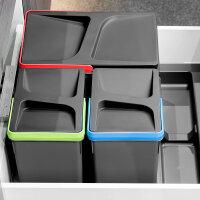 Emuca Recycle-Mülleimer, 15 L + 6 L + 6 L, für...