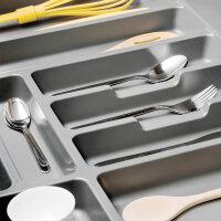 Emuca Besteckfach für Küchenschublade, für Modul 700 mm, Kunststoff, Grau