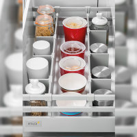 Emuca Schubladen-Kit für Küche Vantage-Q, H. 204 mm, T. 400 mm, mit Relingen, sanftes Schließen, Stahl, Grau metallic