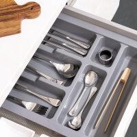 Emuca Besteckfach für Küchenschublade, für Modul 600 mm, Kunststoff, Grau