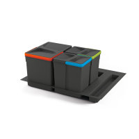 Emuca Recycle-Mülleimer, 12 L + 6 L + 6 L, für...