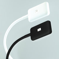Emuca LED-Wandleuchte, quadr., flex. Arm, Touch-Sensor, 2USB, naTürl. weißes Licht, Kunststoff, Weiß