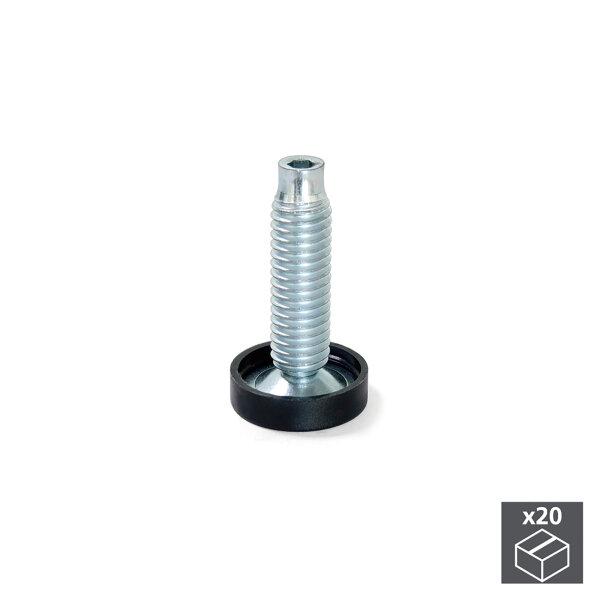 Emuca Nivellierfuß für Möbel, innere Regulierung, M10, D. 23 mm, H. 46 mm, Stahl und Kunststoff, 20 St.
