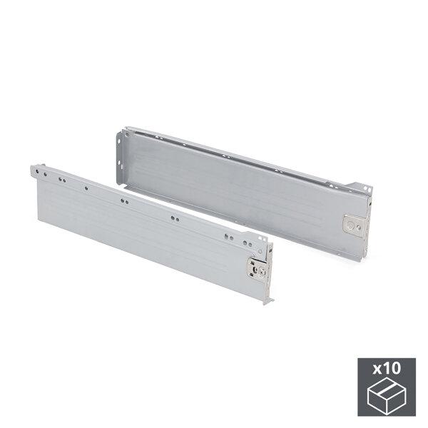 Emuca Schubladen-Kit für Küche Ultrabox, H. 118 mm, T. 400 mm, Stahl, Grau metallic, 10 St.