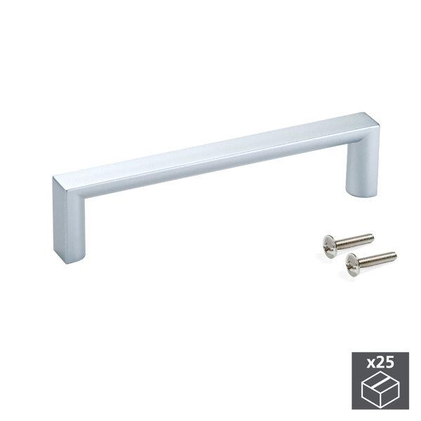 Emuca Möbelgriff, Achsabstand 96 mm, ABS-Kunststoff, Grau metallic, 25 St.