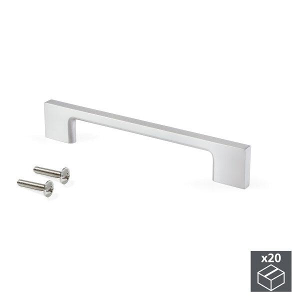 Emuca Möbelgriff, Achsabstand 160 mm, Zamak, Grau metallic, 20 St.