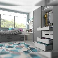 Emuca Schubladen-Kit für Küche Concept, H. 185 mm, T. 350 mm, sanftes Schließen, Stahl, Anthrazit