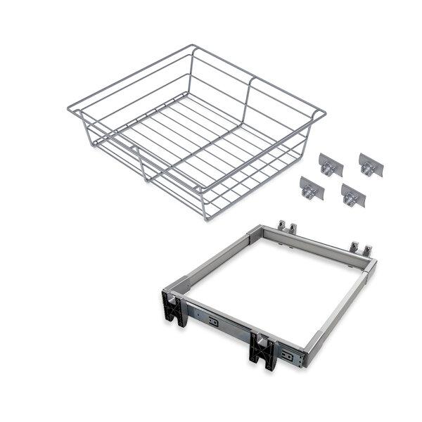 Emuca Metallschubladen-Kit mit Korb und regulierbaren Führungen, für Modul 600 mm, Stahl und Aluminium, Grau metallic