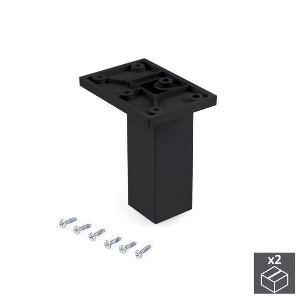 Emuca Möbelfuß, Mitte, regulierbar 100 - 110 mm, Kunststoff, Schwarz, 2 St.