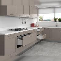 Emuca Schubladen-Kit für Küche Concept, H. 105 mm, T. 300 mm, sanftes Schließen, Stahl, Weiß