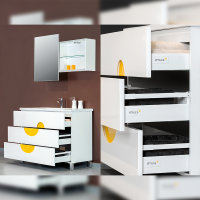 Emuca Schubladen-Kit für Küche Vantage-Q, H. 204 mm, T. 500 mm, mit Relingen, sanftes Schließen, Stahl, Weiß