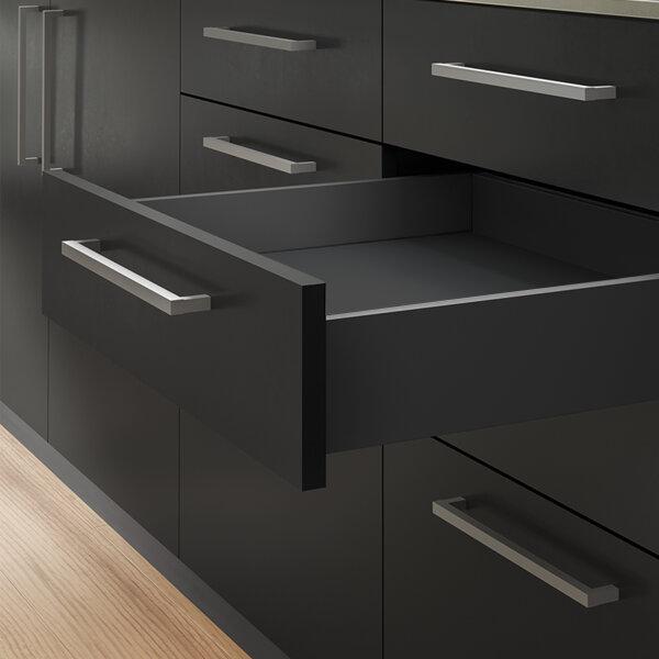 Emuca Schubladen-Kit Vertex für Küche und Bad, H. 93 mm, T. 500 mm, 40 Kg, sanftes Schließen, Stahl, Anthrazitgrau
