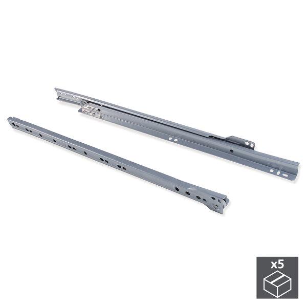 Emuca Satz Führungen für Schubladen, Rollschub, nach unten schließend, 600 mm, Teilauszug, Grau metallic, 5 St.