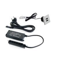 Emuca Ladegerät quadratisch, zur Einbettung in Möbel, 2 USB-Anschlüsse, 37 mm, Kunststoff, Grau metallic