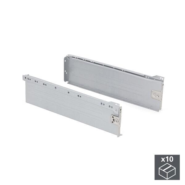 Emuca Schubladen-Kit für Küche Ultrabox, H. 150 mm, T. 270 mm, Stahl, Grau metallic, 10 St.