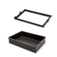 Emuca Metallschubladen-Kit mit Korb und regulierbaren Führungen, für Modul 900 mm, Stahl und Aluminium, Farbe Mokka