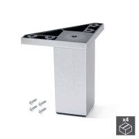 Emuca Möbelfuß, H. 100 mm, Kunststoff, Grau metallic, 4 St.