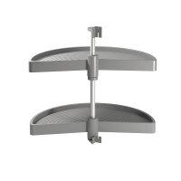 Emuca Satz drehbare Ablagen für Küchenschränke, 180º, für Modul 800 mm, Kunststoff, Grau