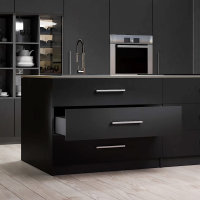 Emuca Schubladen-Kit Vertex für Küche und Bad, H. 93 mm, T. 550 mm, 40 Kg, sanftes Schließen, Stahl, Anthrazitgrau