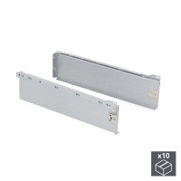 Emuca Schubladen-Kit für Küche Ultrabox, H. 150 mm, T. 400 mm, Stahl, Grau metallic, 10 St.