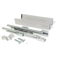 Emuca Schubladen-Kit für Küche Vantage-Q, H. 83 mm, T. 450 mm, sanftes Schließen, Stahl, Grau metallic