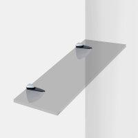 Emuca Bödenträger für Holz-/Glasregale, Dicke 0 - 25 mm, Kunststoff und Zamak, Grau metallic, 2 St.