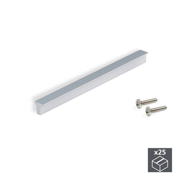 Emuca Möbelgriff, Achsabstand 64 mm, Aluminium, Matt eloxiert, 25 St.