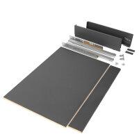 Emuca Schubladen-Kit Vertex Küche und Bad, Bretter enthalten, sanftes Schließen, 500x93mm, 900mm Modul, Stahl, Anthrazit