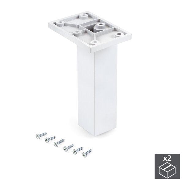 Emuca Möbelfuß, Mitte, regulierbar 140 - 150 mm, Kunststoff, Weiß, 2 St.
