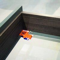 Emuca Satz versteckte Führungen für Schublade, Rollschub, 440 mm, Vollauszug, sanftes Schließen, zum Einhaken, Verzinkt