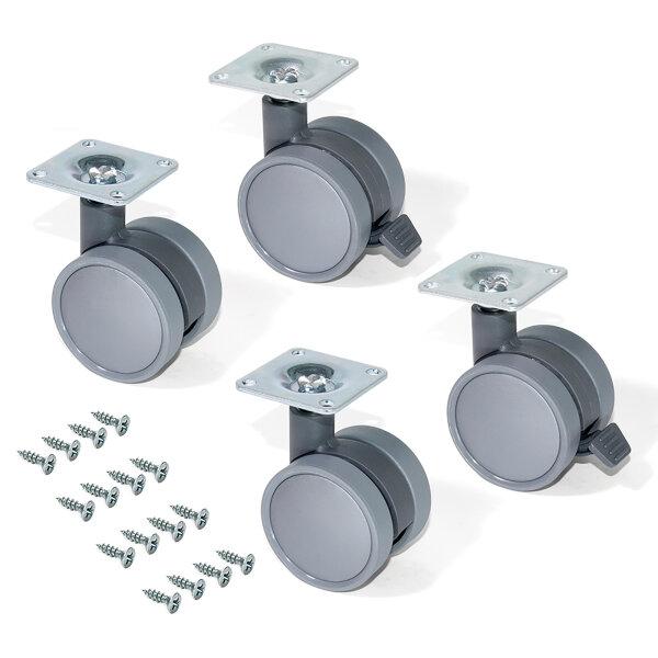 Emuca Rollen mit Anschraubplatte, D. 50 mm, Stahl und Kunststoff, Grau, 4 St.