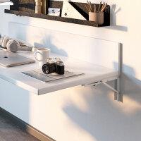 Emuca Klapphaltern für Regal, 300mm, max. 50 kg, Stahl, weißes Finish, 4 st.