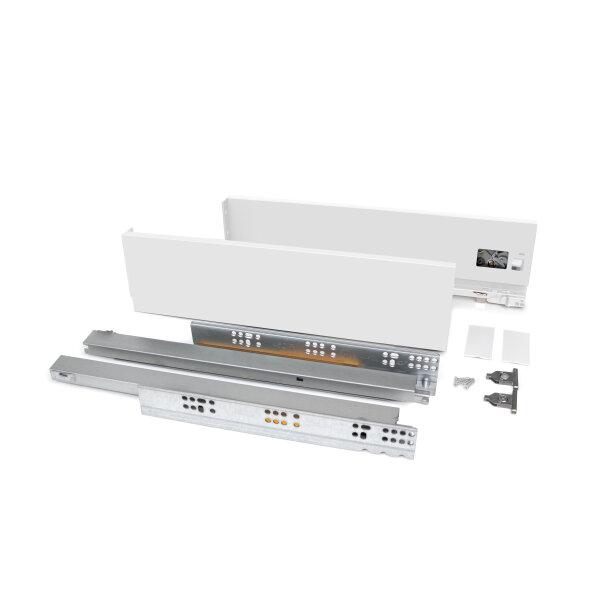 Emuca Schubladen-Kit Vertex für Küche und Bad, H. 93 mm, T. 300 mm, 40 Kg, sanftes Schließen, Stahl, Weiß