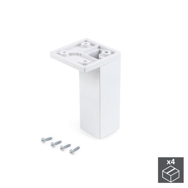 Emuca Möbelfuß, Ecke, regulierbar 100 - 110 mm, Kunststoff, Weiß, 4 St.