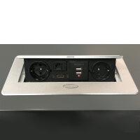 Emuca Mehrfach-Steckerleiste für Tische, 2 USB+1 HDMI+2 Schuko-Steckdosen, 265x120mm, Stahl und Aluminium, Grau-Metallic