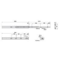 Emuca Satz Führungen für Schublade, Kugelauszug, 45 x 600 mm, Vollauszug, sanftes Schließen, Verzinkt