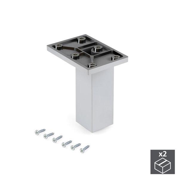 Emuca Möbelfuß, Mitte, regulierbar 100 - 110 mm, Kunststoff, Verchromt, 2 St.